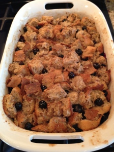 Blueberry French Toast Casserole with Raspberry Syrup